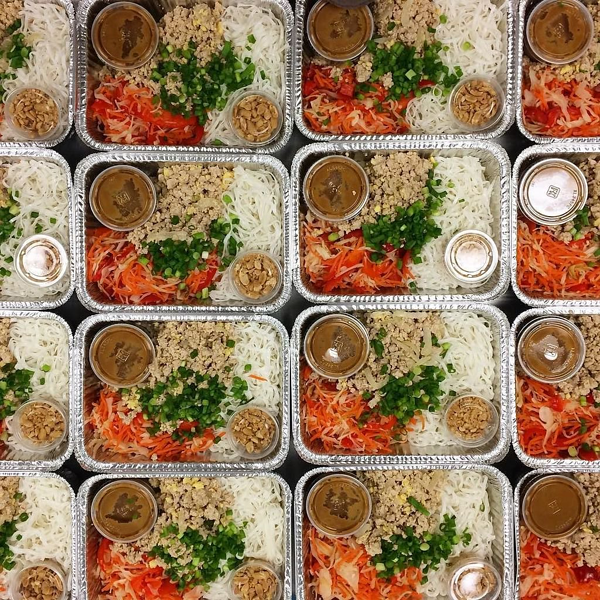 Several containers with orders from a meal prep business