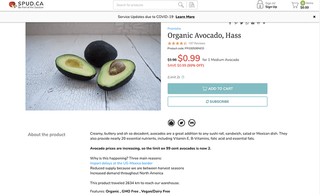 online grocery business product page example